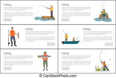 Fishing Isolated on White Set of Colorful Banners