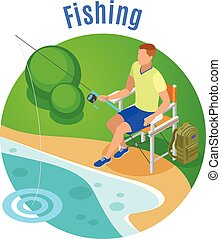 Fishing Isometric Composition