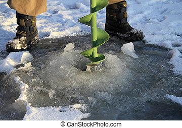 fishing., jég