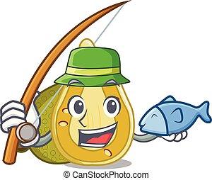 Fishing jackfruit mascot cartoon style vector illustration
