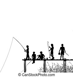 Editable vector silhouettes of children fishing from a wooden jetty with all elements as separate objects