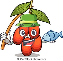 Fishing jujube fruit in the shape mascot vector illustration
