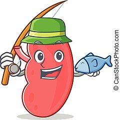 Fishing kidney mascot cartoon style