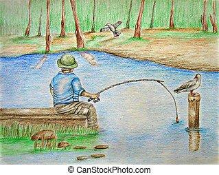 Fishing - landscape, colored pencils