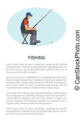 Fishing Leisure Activity Poster with Man on Chair - Fishing...