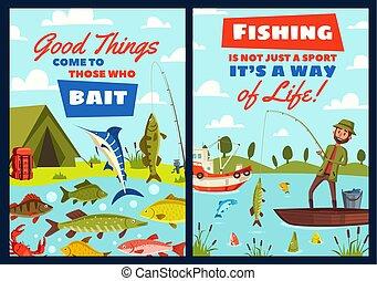 Fishing leisure adventure, fisher catch lake fish