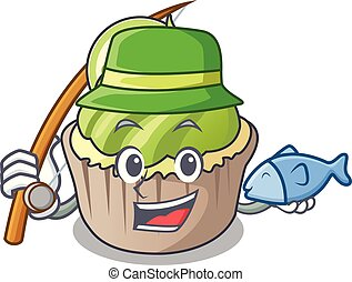 Fishing lemon cupcake mascot cartoon