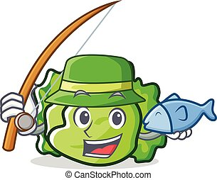 Fishing lettuce character cartoon style