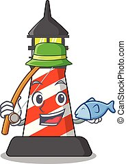 Fishing lighthouse on the beach mascot