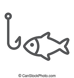 Fishing line icon, animal and underwater, hook sign vector graphics, a linear pattern on a white background, eps 10.