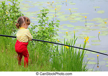 fishing littlle girl with rod
