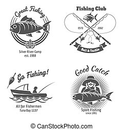 Fishing logo and emblems vintage vector set