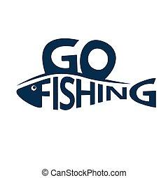 Fishing logo, emblem isolated on white background. Lettering fishing shaped like a fish. Design element. Vector illustration.