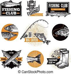 Fishing Logo Emblems - Hand drawn fishing logo emblems set...