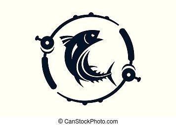 fishing logo vector icon concept