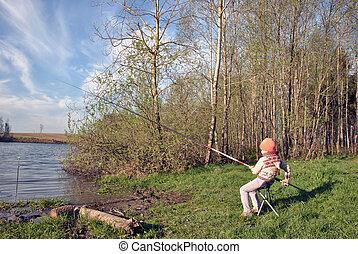 Fishing - lovely girl fishing on the lake