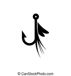 Fishing lure icon. Silhouette vector sign
