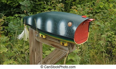 Fishing Lure mailbox. - Fishing lure mailbox in cottage...