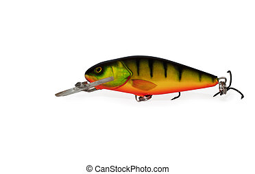 fishing lure on white - fishing lure isolated on white ...