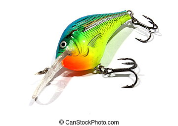 Fishing Lure - isolated fishing lure used to attract fish to...