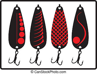 Fishing lures. - Designed spoon fishing lures.