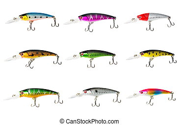 Fishing lures isolated on white