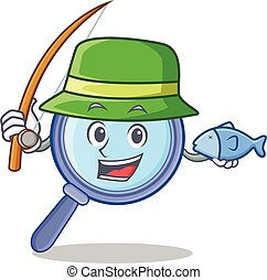 Fishing magnifying glass character cartoon