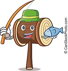 Fishing mallet mascot cartoon style