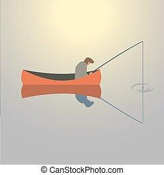 Fishing man icon