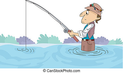 Illustration of a Man Holding a Fishing Rod Submerged in Knee-deep Water