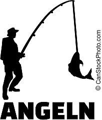 Fishing man with german title