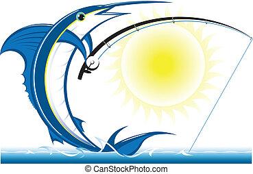Cartoon of a marlin fishing in the sea