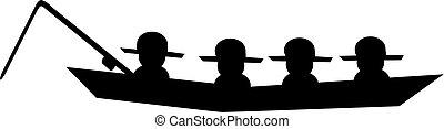 Fishing men sitting in boat