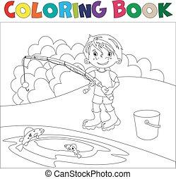 fishing., menino, tinja livro