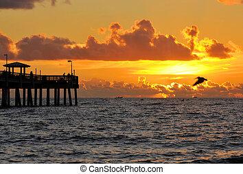 Fishing Methods - Sunrise at the Dania Beach Pier in Ft...