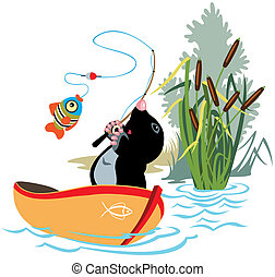 cartoon mole fishing in a boat, isolated image for little kids