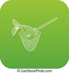 Fishing net icon green vector