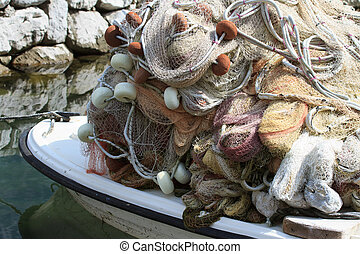 fishing net in a boat close up