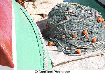 fishing net in a heap
