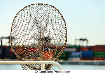 Fishing net in harbour. - Cargo commerce industry...