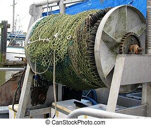 Fishing net on reel.