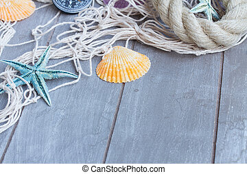 fishing net on wooden background