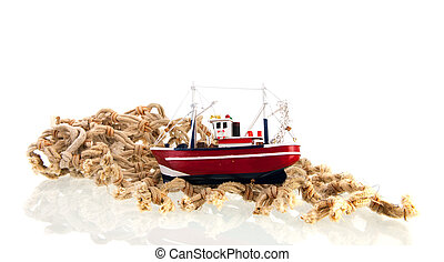 fishing net with boat