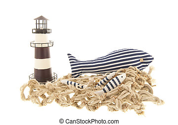 Fishing net with lighthouse