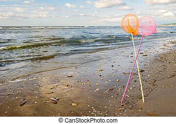 Fishing nets at the sea