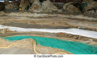 Fishing nets in port