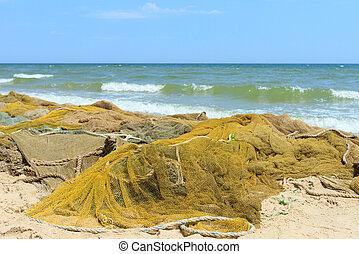 Fishing nets on the sea