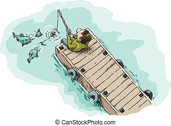 Fishing on a Dock - Cartoon illustration of a single man...