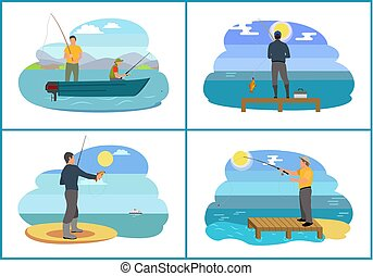 Fishing on Lake in Boat Set Vector Illustration