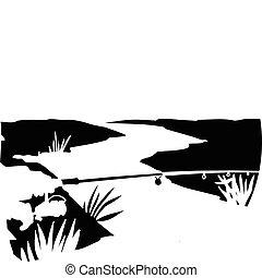 fishing on river vector illustratio